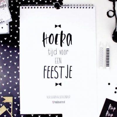 MIEKinvorm Verjaardagskalender - Zwart wit - sfeerfoto - invulboekjes.nl